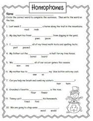 Kids workbook Homophones example
